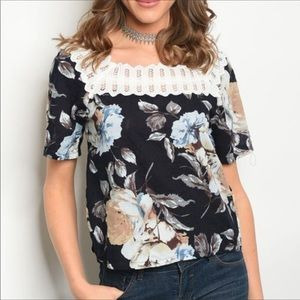 Inspired Closet Tops - NEW! 3 FOR $40 • Floral Blouse w/Crochet Collar